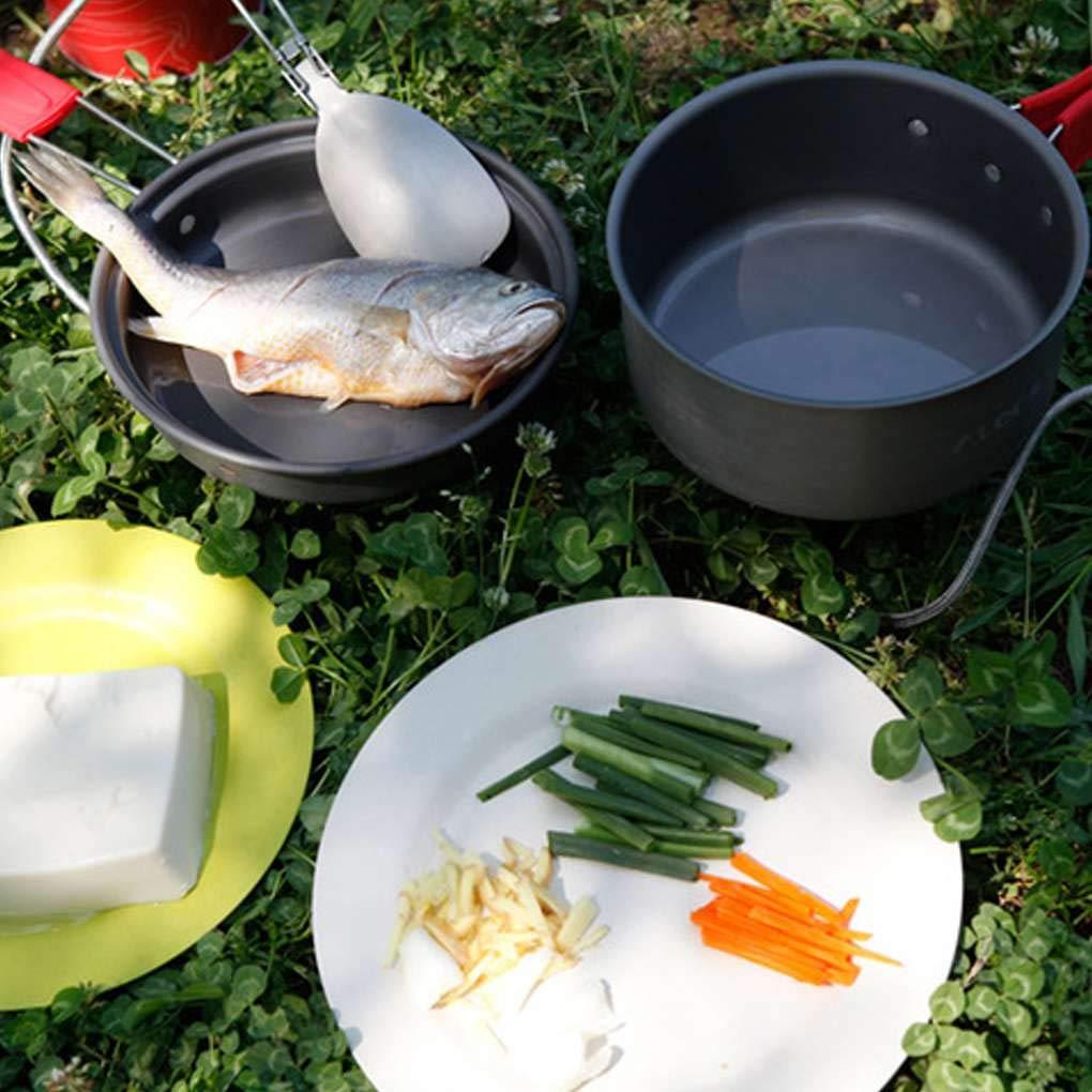 Provide Provide Provide The Best 2ST 2-3 Personen Bratpfanne 1.5L Energiesparende Hitze Ring Töpfe Sets für Outdoor Wandern Picknick 23922f