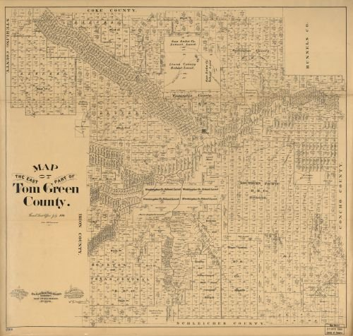 1894 Map of the east part of Tom Green County. - Size: 24x24 - Ready to Frame - Texas | Tom Green - Locator Tom Store