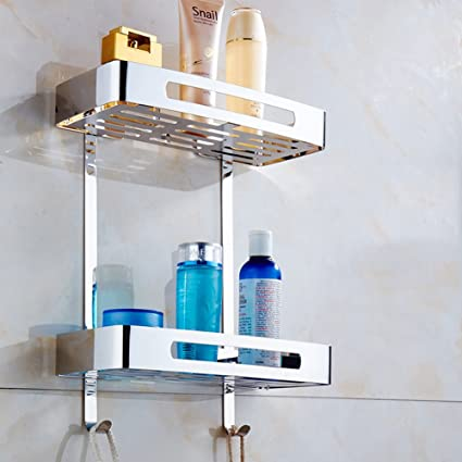 Hanging Bathroom Shelves Amazing TIANGStainless Steel Two Tier Wall Hanging Rectangle Bathroom Shelf