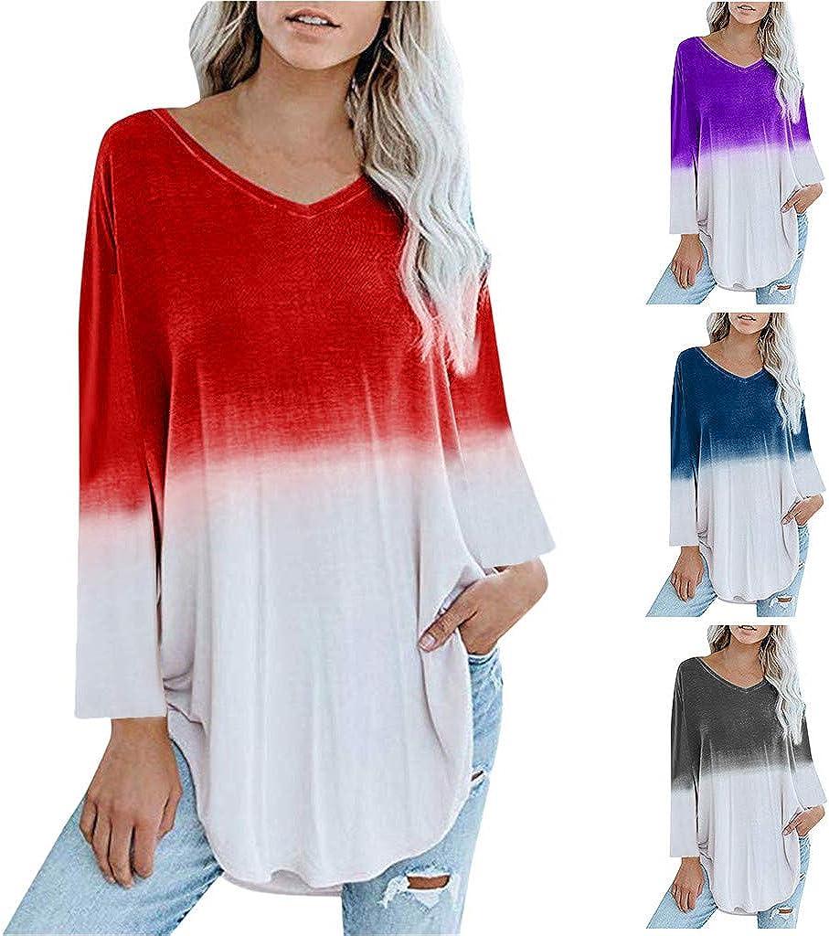 Tunic Irregular Gradient T Shirts Womens Loose Long Sleeve V Neck Casual Tops