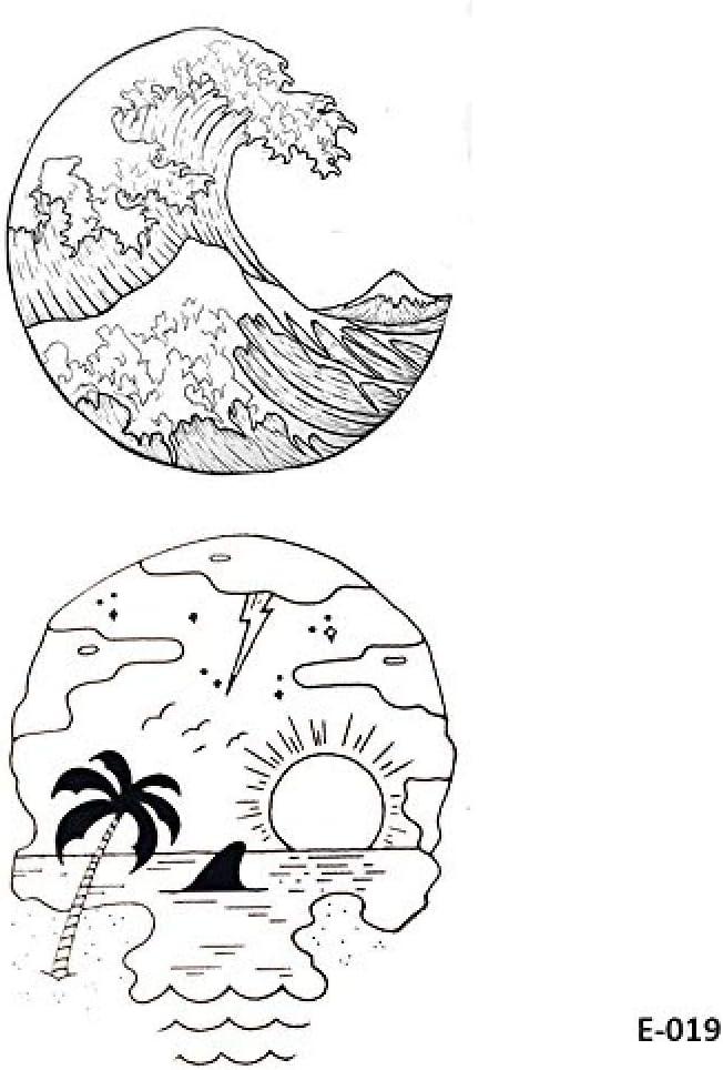 5 Hojas Ola Tatuajes Temporales De La Playa De La Falda Etiqueta ...