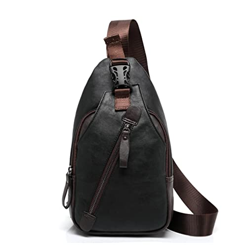 Amazon.com  ShiningLove Fashion PU Leather Male Chest Sling Packs Multi  Pocket Backpack Waterproof Cross Body Shoulder Bag- Black  Shoes ec274968e49d6