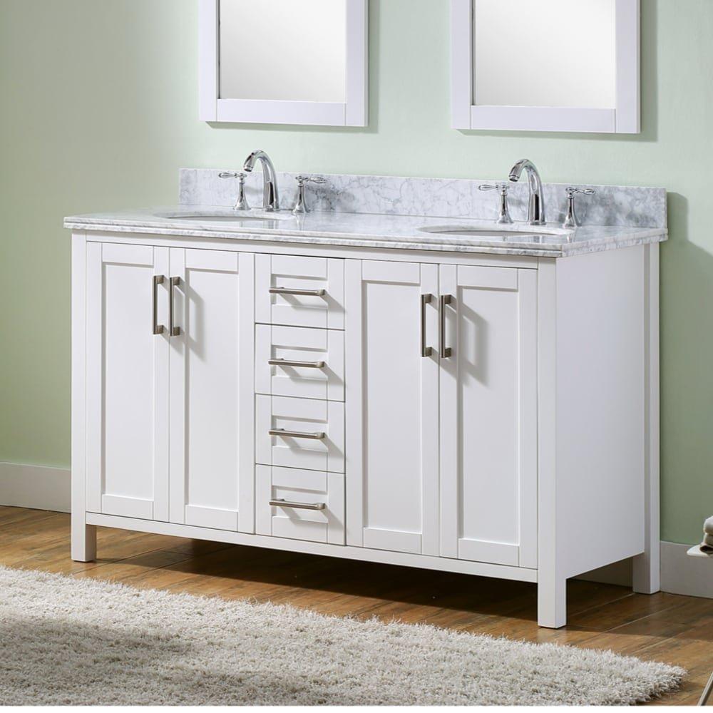 Amazon.com: Infurniture Carrara White Marble/Metal/Wood Double-sink ...