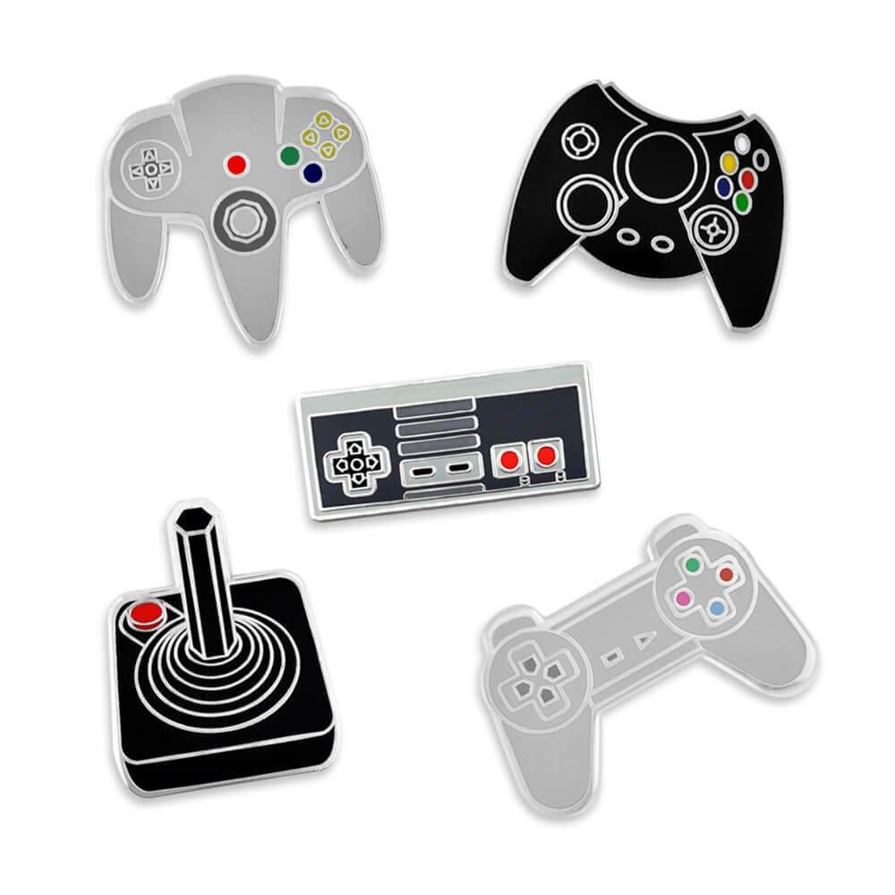 PinMart's Retro Video Gaming Original Controller Enamel Lapel Pin Set