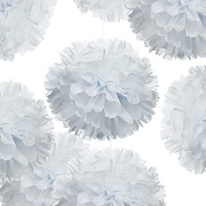 14 White Tissue Pom Poms Diy Decorative Paper Flowers Ball For Birthday Party Wedding Baby Shower Home Outdoor Hanging Decorations Pack Of 10