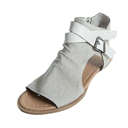 1267e1a3e7a3 Anxinke Women s Peep Toe Sandals Casual Solid Ankle Strap Flat Sandals with  Zipper (Beige