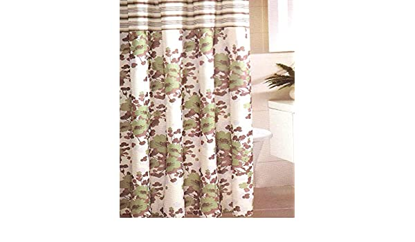 Amazon Floral Flowers Stripe Shower Curtain