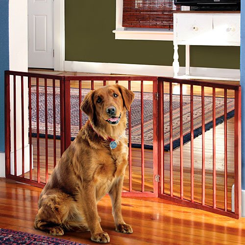 Folding Wood Pet Gate- 3 Sections