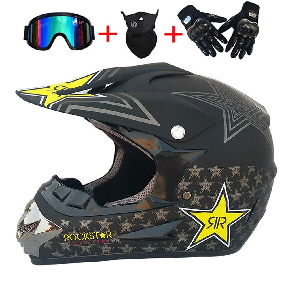 Matt Black,XL YEMA YM-915 Full Face Off Road Downhill Dirt Bike MX ATV Motorbike Helmet for Adult Men Women Motocross Quad Crash DH Helmet ECE