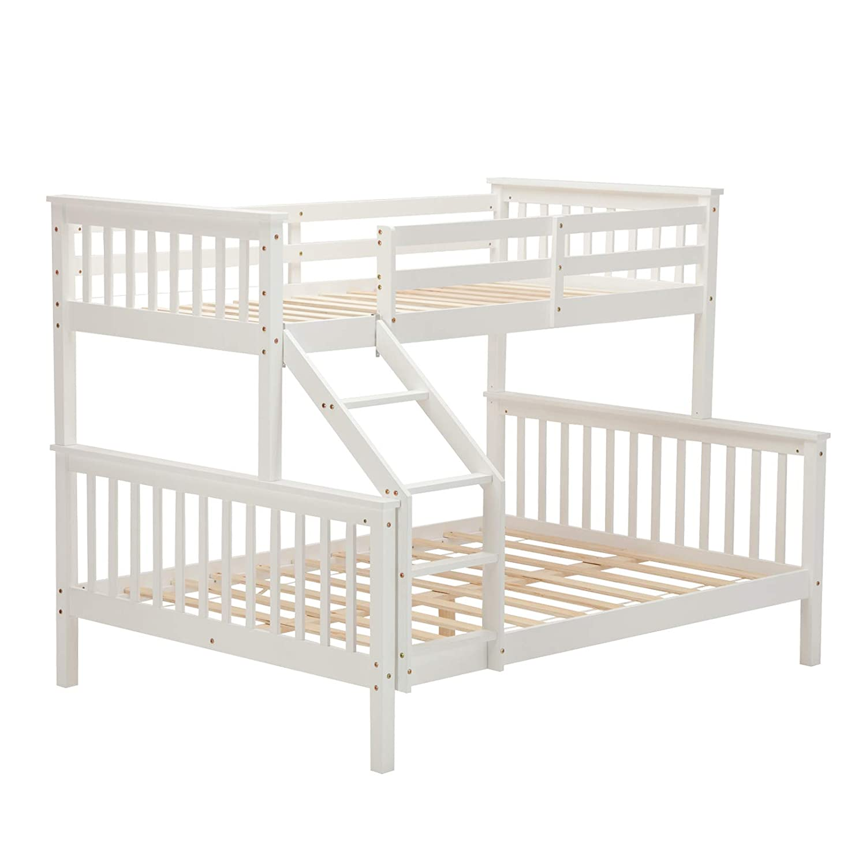 mecor White Bunk Beds Triple Bed Frame Wooden Sleeper for Children Adults (Natural I Ladder)