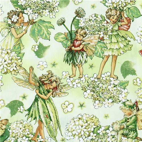 Michael Miller flower fabric Morning Fairy Garden fairy per 05m