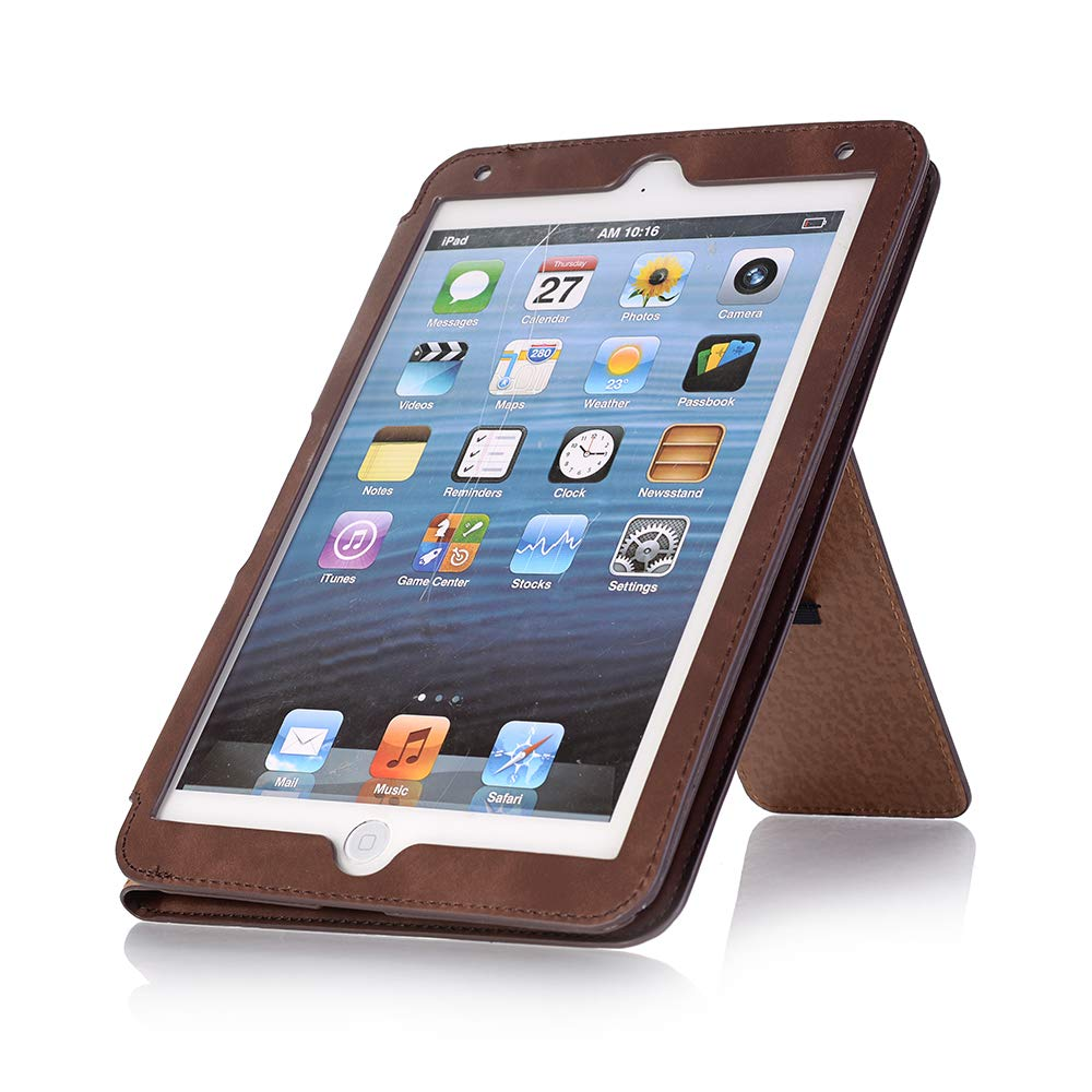 iPad Mini Case, iPad Mini 3 Cover with Card Slot,FuriGer Slim Fit Smart Case Multiple Stand Angles Bookstyle Hand Strap for for iPad Mini 1/2/3 - Dark Brown by FuriGer (Image #1)