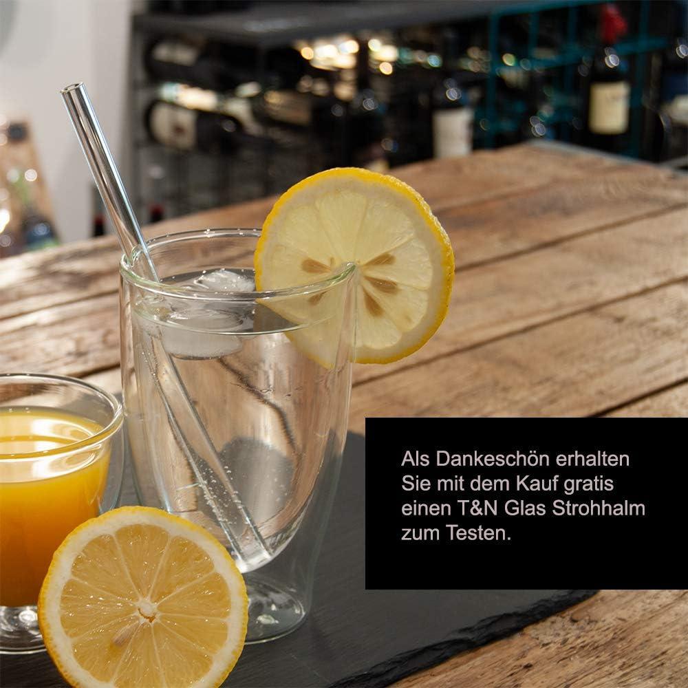 smoothie jus th/é, Gourde de Sport en Verre 100/% sans BPA avec Brosse avec Paille en Verre Gratuite pour Tester T/&N Bouteille en Verre Classique 550 ml Housse en n/éopr/ène Anti-Fuite