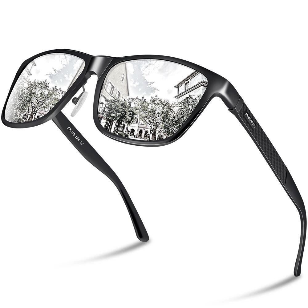 PAERDE Men's Polarized Wayfarer Sunglasses For Men Driving Metal Frame Ultra Light Sun Glasses (Black-silver)