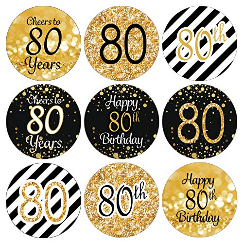 DISTINCTIVS Black and Gold 80th Birthday Party Favor Labels | 216 Stickers -