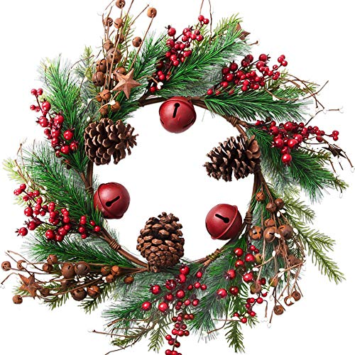 HOLICOLOR Christmas Wreath, Garland with Bells and Stars, 23×23inch Christmas Door Decoration, Holiday Decoration