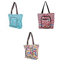 3 Pcs Machine Washable Heavy Duty Canvas Reusable Shopping Tote Bag with Zipper
