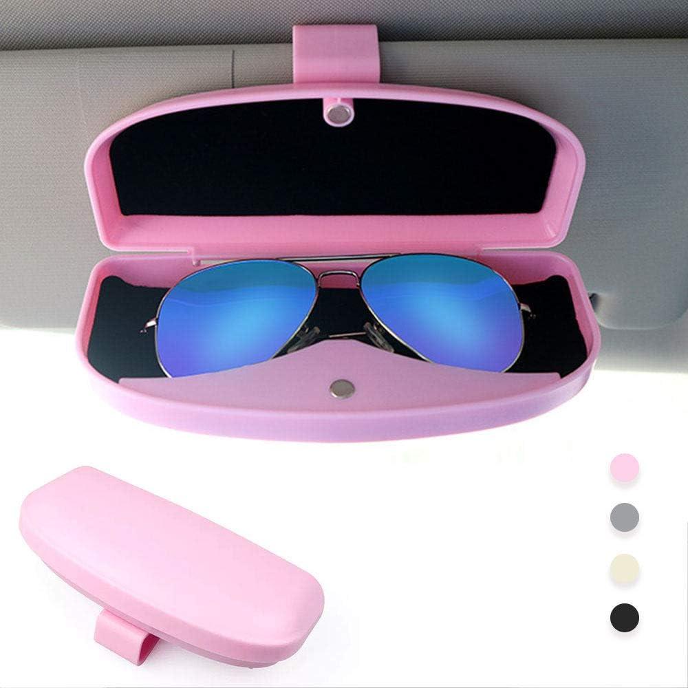 Auto Sonnenblende Brillenbox HYM Brillenhalter f/ür Auto Sonnenblende Universal Auto Sonnenbrillenhalter Fall Aufbewahrungsbox Brillenbox mit Kartenhalter f/ür Sonnenblende,Black