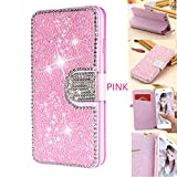 iPhone 7 Plus Case,iPhone 8 Plus Wallet Case,DECVO Glitter Diamond Bling Rhinestone Flip Case Magnetic Bright Crystal Protective Leather with Card Slot Kickstand for iPhone 7/8 Plus 5.5inch (PINK)