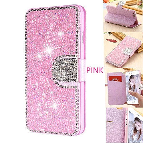 DECVO Wallet Case Compatible with iPhone 7 iPhone 8, Glitter Diamond Bling Rhinestone Flip Case Magnetic Bright Crystal Protective Leather with Card Slot and Kickstand (Pink)
