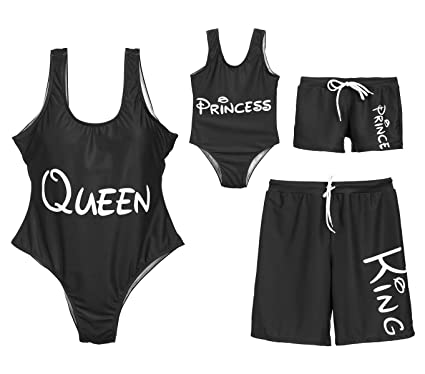 64343f729286c Amazon.com: Family Matching King Queen Prince Princess Letter Print Bathing  Suit Parent-Child Couples Monokini Swim Shorts: Clothing