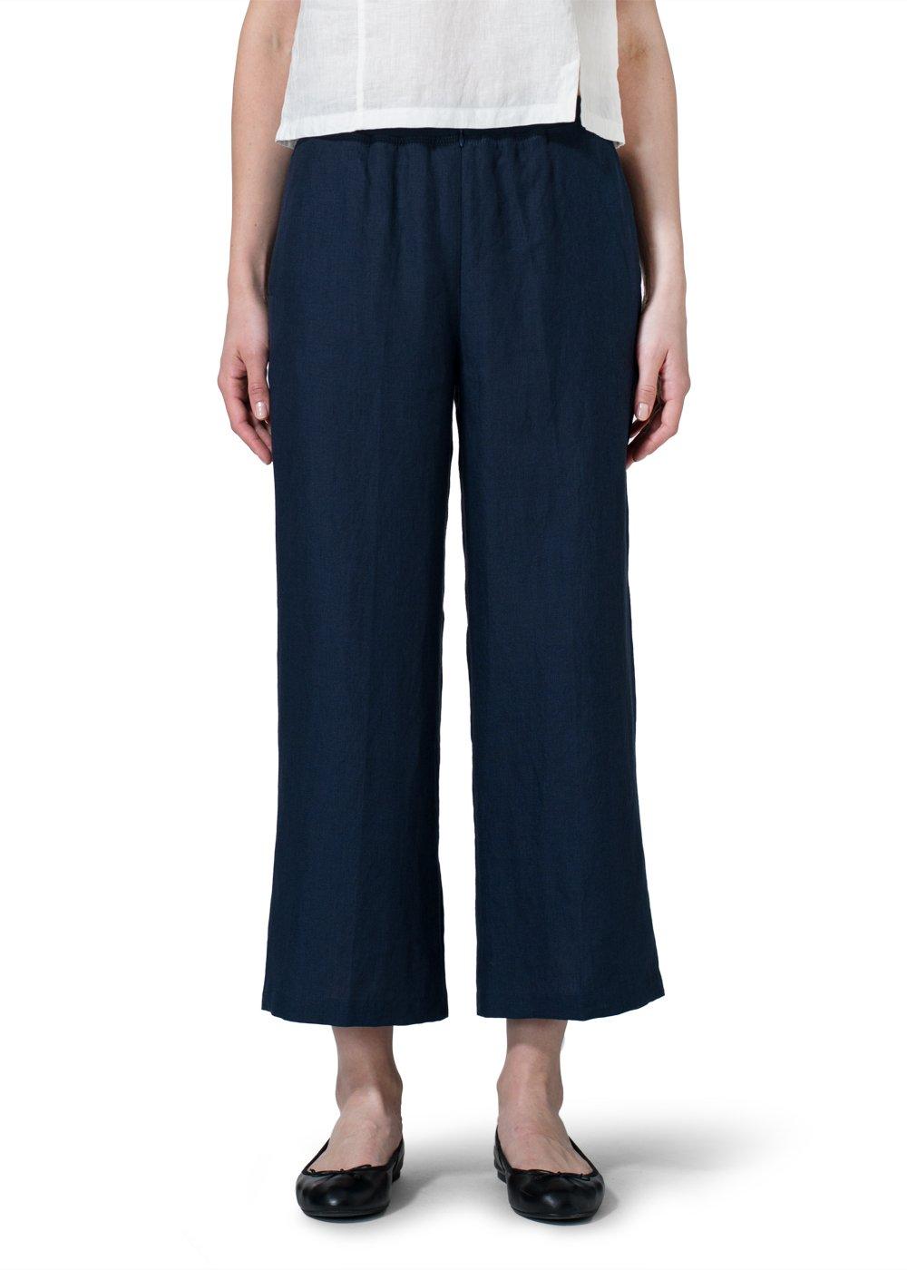 Vivid Linen Relaxed Crop Pants-1X-Navy Blue