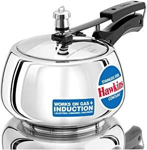 Hawkins Contura Stainless Steel Induction Compatible Pressure Cooker, 3 Litre, Silver (SSC30)