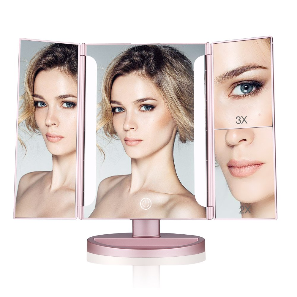 Easehold Lighted Makeup Mirror, 2 X 3X Magnifiers Vanity Mirror with Upgraded Eye-Caring Lights Tri-Fold 180 Degree Adjustable Countertop Cosmetic Bathroom Mirror(Rose Gold)