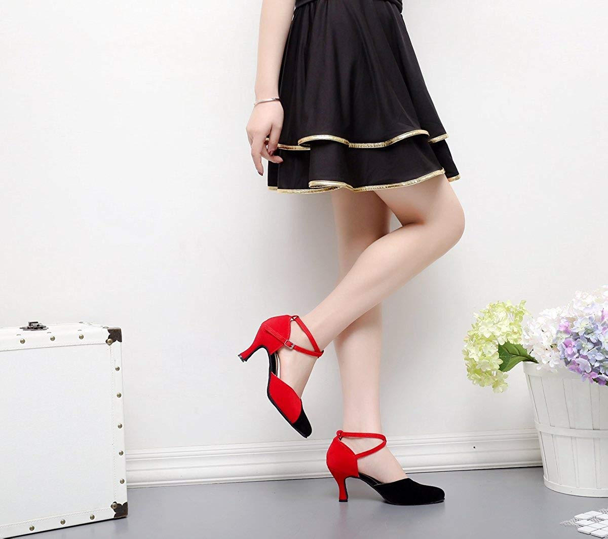 Qiusa TJ7136 TJ7136 TJ7136 Damen Mädchen Knöchelriemen Rot Wildleder Latin Dancing Schuhe Formale Partei Pumps UK 6,5 (Farbe   - Größe   -) d9879c