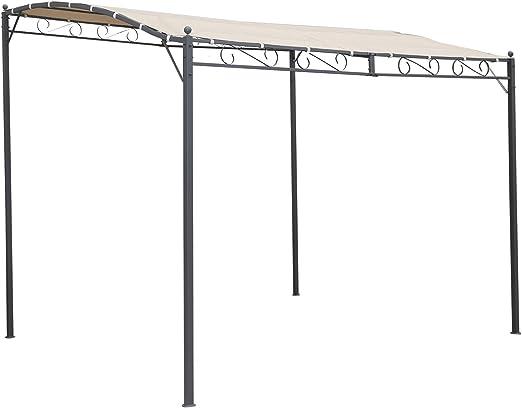 Angel Living® 300x250cm Inclinación Gazebo Toldo Pergola de Pared de Metal Shade Marquee Refugio Jardín Pavillon ...