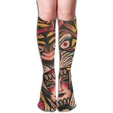 Estampado de tatuajes Tigre Calcetines largos hasta la rodilla con ...