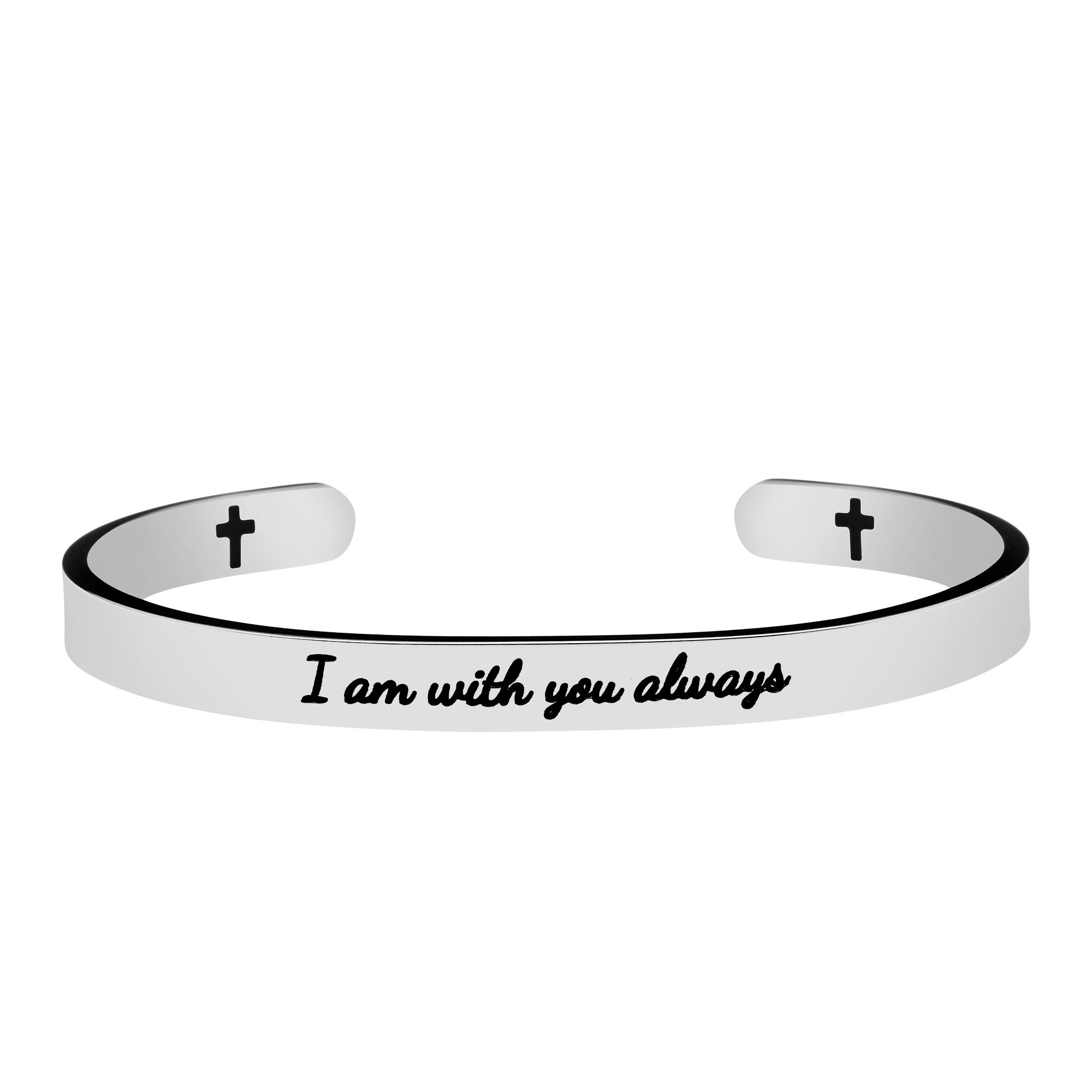 Joycuff Motivational Gift for Friends Religion Cuff Bracelet Bible Verse Jewelry Engraved I Am with You Always