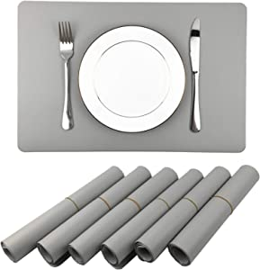 WAZAIGUR Placemats,Placemat for Dining Table Waterproof Easy to Clean Non Slip Heat Insulation Double-Sided Durable Faux Leather Placemats Set of 6(Gray)