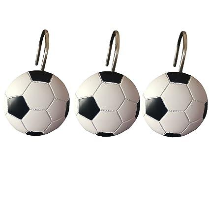 Doupoo Home Decorative Soccer Shower Curtain Hooks Set Of 12