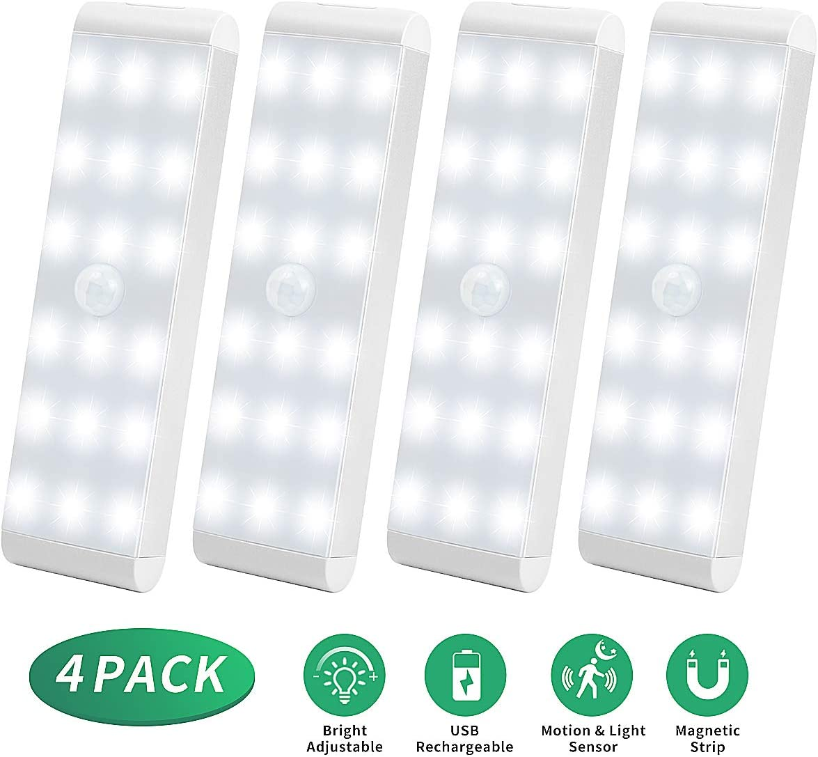 LED Closet Light,18-LED Dimmer USB Rechargeable Motion Sensor Closet Light Under Cabinet Wireless Stick-Anywhere Night Light Bar with 600mAh Battery for Stairs,Wardrobe,Kitchen,Hallway (4 Packs)