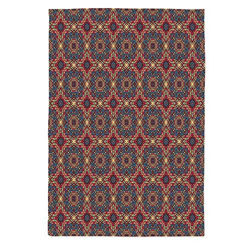 60' Rectangle Glass - TecBillion Vintage Printed Tablecloth,Arabesque Middle East Ottoman Oriental Famous Carpet Patten Like Glass Artwork for Rectangle Table Kitchen Dinning Party,60''W X 90''L