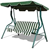 Tangkula 3 Seater Canopy Swing, Outdoor Patio Swing with Cushioned Steel Frame,Glider Swing Bench for Garden Backyard…