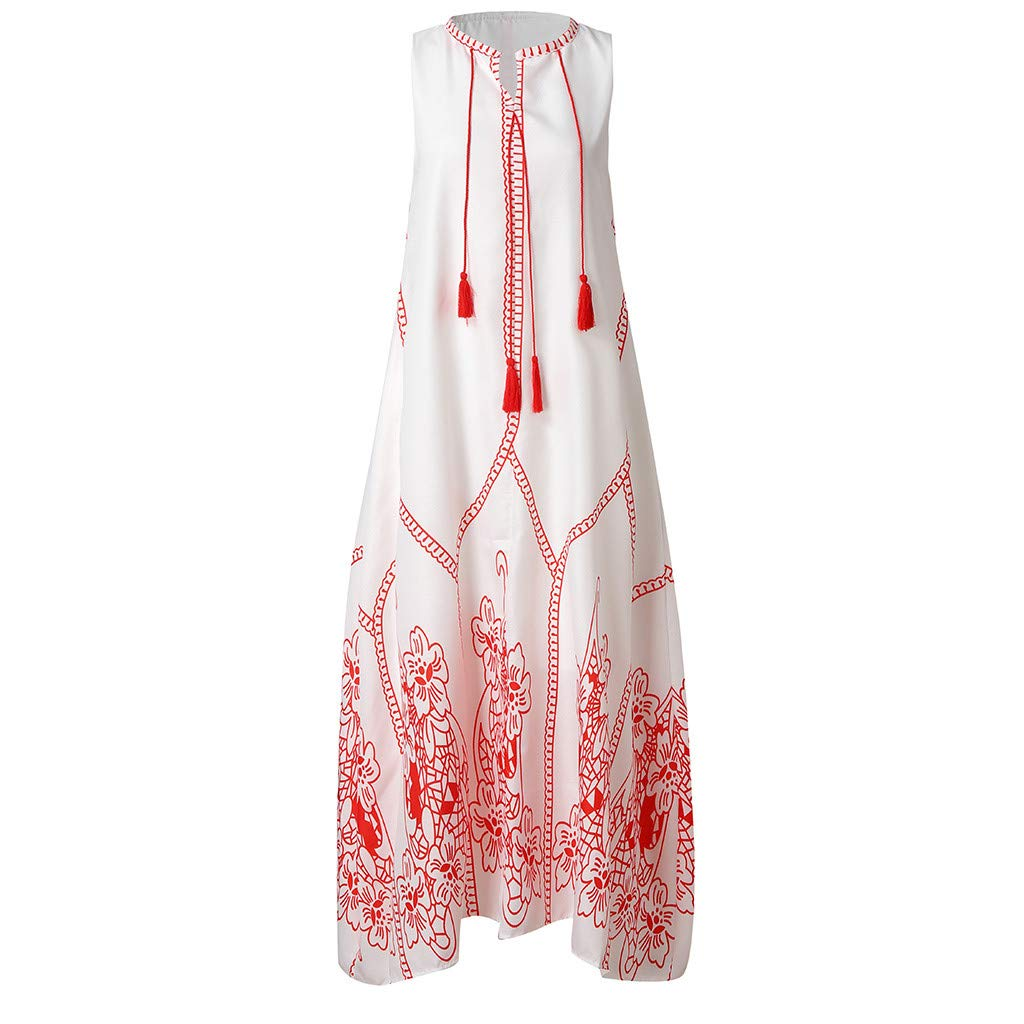 Yaseking Women Vintage Casual Sleeveless Cotton Blend Embroidery Printed Floral Summer Long Dress (M, Red)