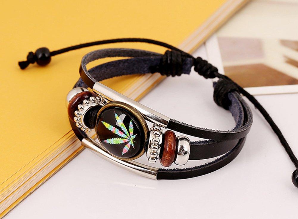 D.B.MOOD Adjustable Genuine Leather Bracelet - Marijuana Weed Leaf Black by D.B.MOOD (Image #4)