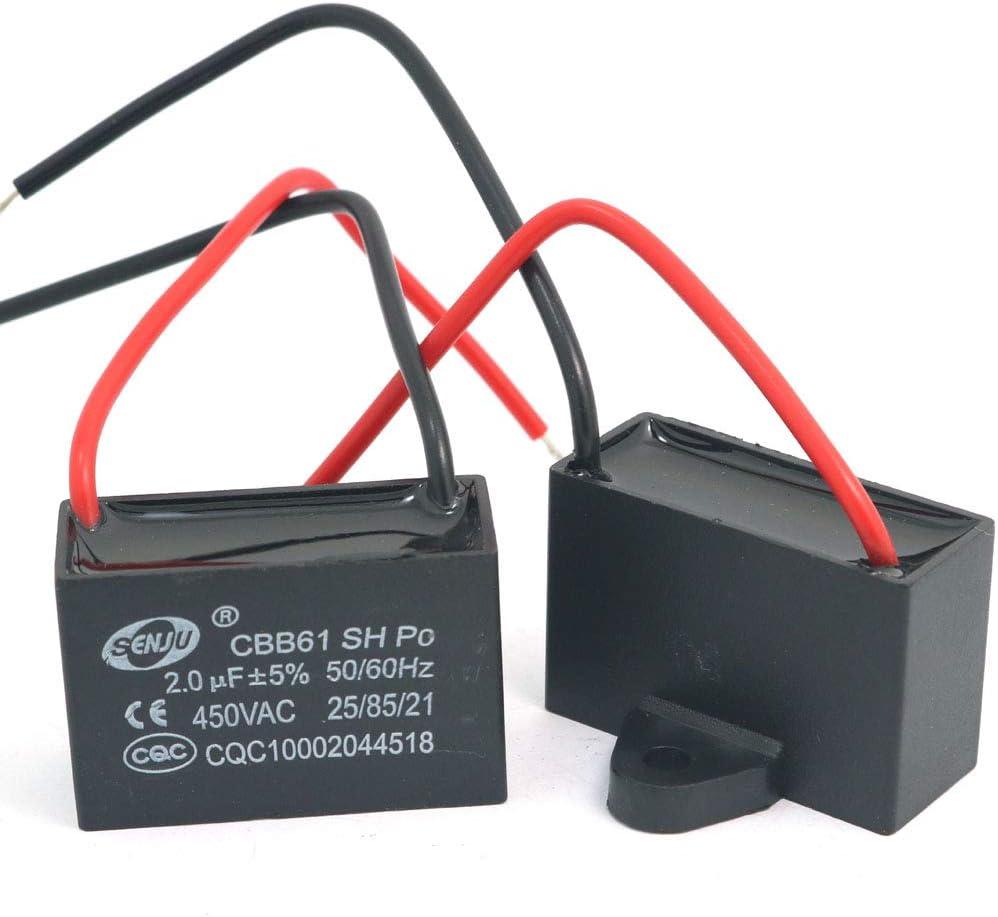 DollaTek 2Pcs CBB61 2uF 450V AC 50/60Hz Condensador Corriente del Motor de Ventilador del acondicionador de Aire