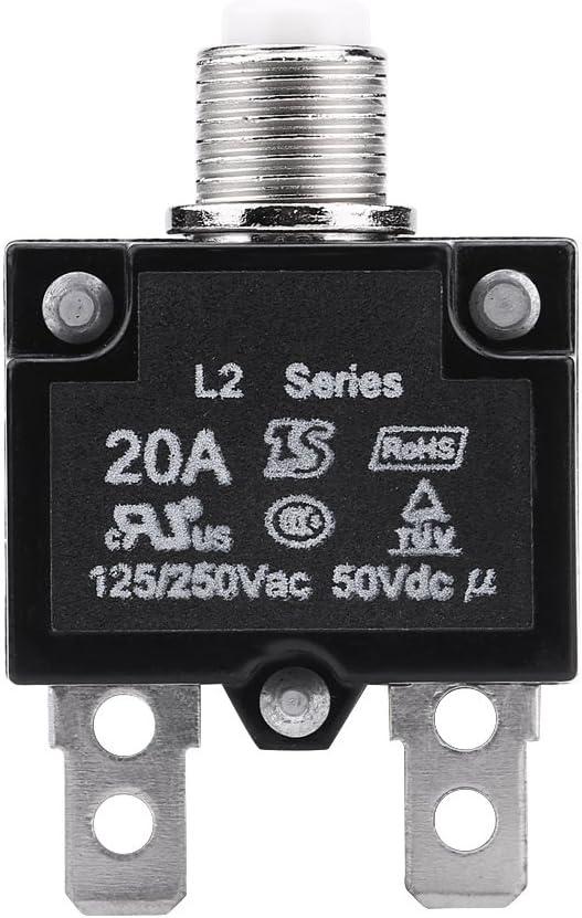 Qiilu AC 125 / 250V Restablecer Disyuntor Interruptor Térmico Sobre protector de sobrecarga de corriente para Generador(20A)