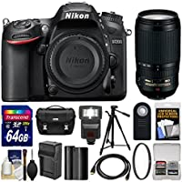 Nikon D7200 Wi-Fi Digital SLR Camera Body with 70-300mm VR Lens + 64GB Card + Case + Flash + Battery/Charger + Tripod + Kit Overview Review Image