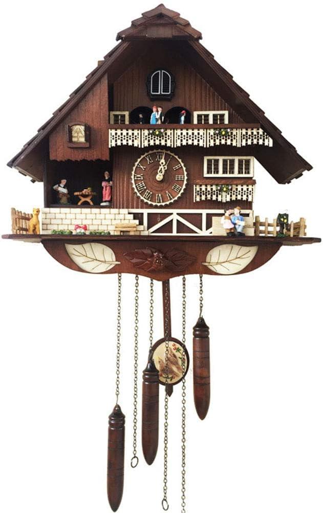 H-Clocks Reloj de Cuco alemán de la Selva Negra, simulación Hecha a Mano Casa de Cuco de Madera Música Creativa Europeo Vintage Antiguo Cuarzo Reloj de Pared de artesanía Lujosa