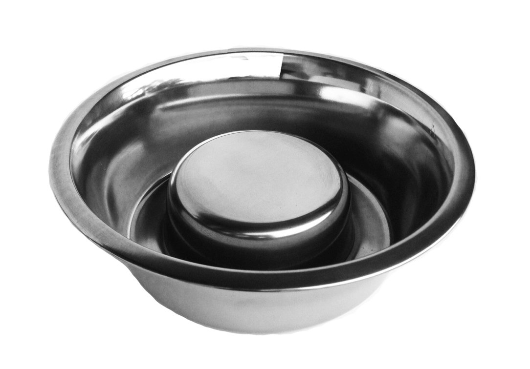 Baron Double Bowl Elevated Diner with Slow Feed Bowl - 10'' Tall - Raised Feeder - Black - Pet Food and Water Bowls - Non-Skid Legs - Metal, Stainless Steel - Best Elevated Diner for Bloat