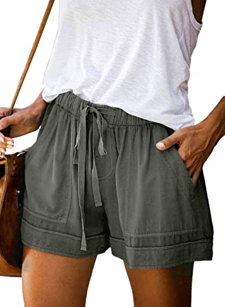 AROGONE Womens Comfy Drawstring Elastic Waist Loose Linen Shorts with Pockets