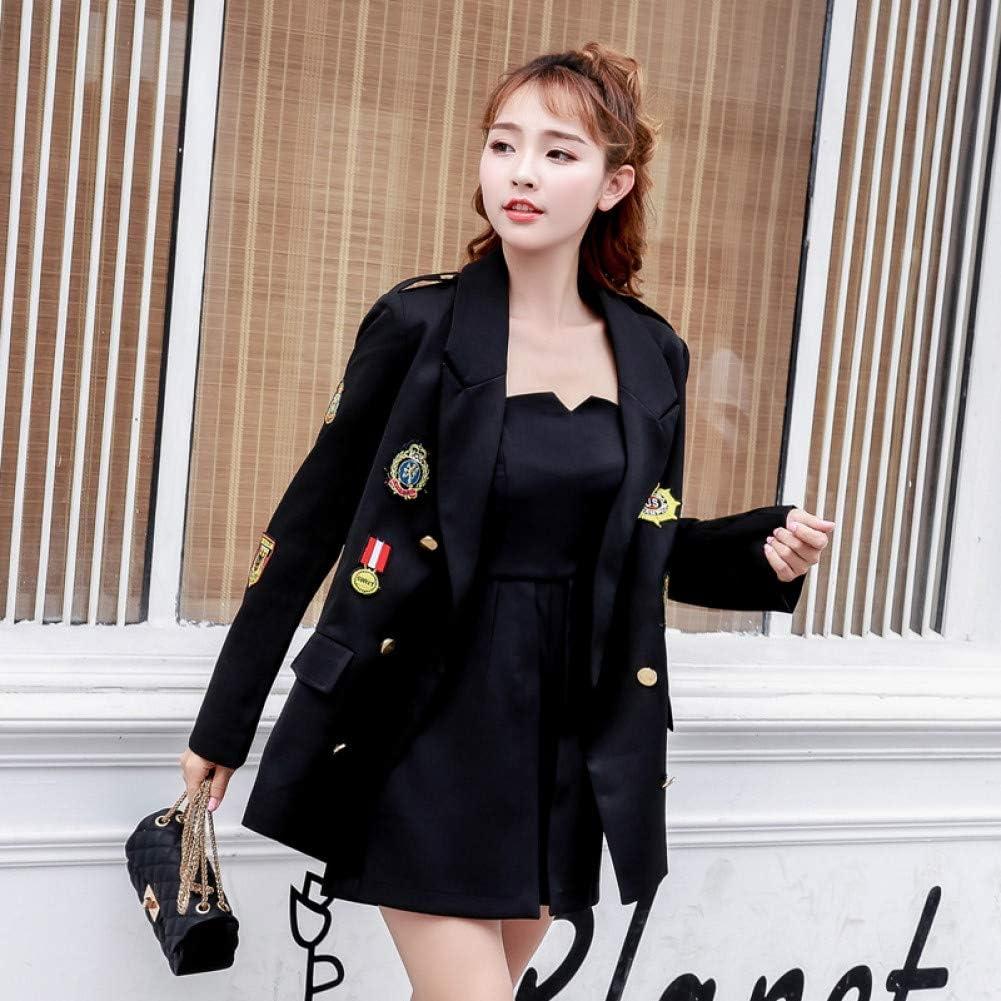 MYDYWT Spring Autumn Loose Casual Women Blazers Suit Jacket Female Long Paragraph Badge Long Sleeve Suit Female