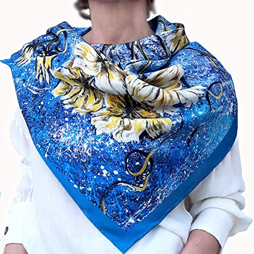 Dessigner Square Silk Scarf in Bright Blue and Yellow Florals based on Hand-Painted Drawing