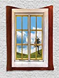 asddcdfdd House Decor Tapestry, View Of A Meadow Grass With Tree Through Window Countryside Rural Cottage Flourishing Image, Bedroom Living Room Dorm Decor, 40 W x 60 L Inches, Multi