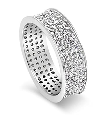 925 Sterling Silver UK Hallmarked Lab Diamonds White Gold Plated Full Eternity Wedding Engagement Ladies Ring Band 4mm CtHYi5DOns