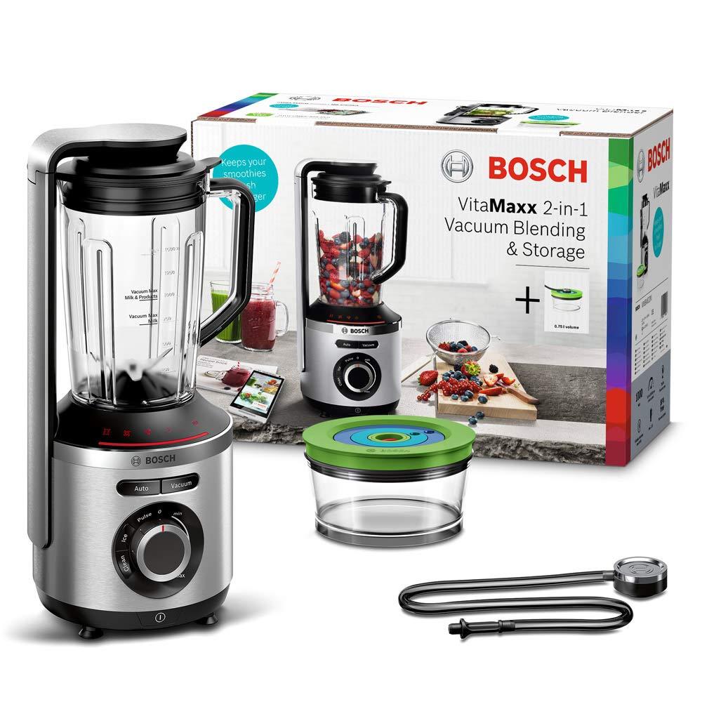 Bosch MMBV622M VitaMaxx Batidora Vaso, 1000 W, 1.5 litros, 83 Decibeles, Tritan/Aluminio, 4 Velocidades, Negro, Acero Inoxidable